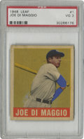 Baseball Cards:Singles (1940-1949), 1948-49 Leaf Joe DiMaggio #1 PSA VG 3. The Yankee Clipper makes an appearance here for this quality PSA 3 card from the 194...