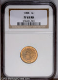 1866 1C PR63 Red and Brown NGC. PCGS Population (17/109). NGC Census: (6/58). Mintage: 725. Numismedia Wsl. Price: $385...