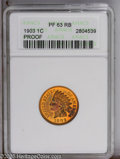 1903 1C PR63 Red and Brown ANACS. PCGS Population (34/120). NGC Census: (13/89). Mintage: 1,790. Numismedia Wsl. Price:...