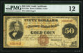 Large Size:Gold Certificates, Fr. 1189a $50 Triple Signature 1882 Gold Certificate PMG Fine 12.....