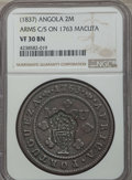 Angola, Angola: Portuguese Colony Counterstamped 2 Macutas ND (1837) VF30Brown NGC,...