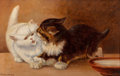 Fine Art - Painting, American:Modern  (1900 1949)  , S. Skillington (American, 20th Century). Kittens, 1908. Oilon canvas laid on board. 9-3/4 x 15-1/4 inches (24.8 x 38.7 ...
