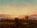 19th Century European, Continental School (19th Century). Sunset. Oil on canvas.8-7/8 x 12 inches (22.5 x 30.5 cm). ...