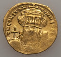 Ancients:Byzantine, Ancients: Constans II (AD 641-668). AV solidus (19mm, 4.30 gm).Choice VF, clipped, graffito....