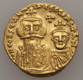 Ancients:Byzantine, Ancients: Constans II (AD 641-668) & Constantine IV (AD654-685). AV solidus (20mm, 4.37 gm). Choice VF, clipped....