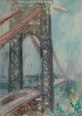 Fine Art - Work on Paper:Watercolor, James Montgomery Flagg (American, 1877-1960). Airship Over theGeorge Washington Memorial Bridge. Watercolor on paper. 2...