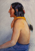 Fine Art - Painting, American, Joe Scheuerle (American, 1873-1948). High Eagle - SouthernCheyene, 1917. Watercolor and gouache on paper. 14 x 9-3/4in... (Total: 2 Items)