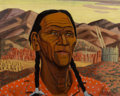 Fine Art - Painting, American, Yvonne McKague Housser (Canadian, 1897-1996). Indian atToas. Oil on board. 17 x 22 inches (43.2 x 55.9 cm). Signedlowe...