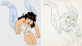 Animation Art:Production Cel, Wizards Elinore Production Cel and Animation Drawing (RalphBakshi, 1977).... (Total: 2 )