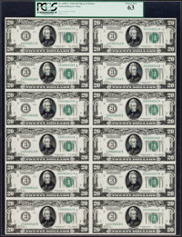 Fr. 2050-C $20 1928 Federal Reserve Notes. Uncut Sheet of Twelve. PCGS Choice New 63