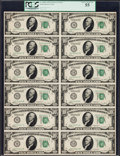Fr. 2000-I $10 1928 Federal Reserve Notes. Uncut Sheet of Twelve. PCGS Choice About New 55