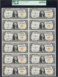 Small Size:World War II Emergency Notes, Fr. 2306 $1 1935A North Africa Silver Certificates. F-C Block UncutSheet of Twelve. PCGS Very Choice New 64PPQ.. ...