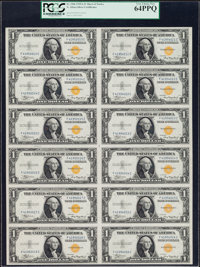Fr. 2306 $1 1935A North Africa Silver Certificates. F-C Block Uncut Sheet of Twelve. PCGS Very Choice New 64PPQ