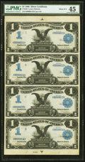Large Size:Silver Certificates, Fr. 226 $1 1899 Silver Certificate PMG Choice Extremely Fine 45.Uncut Sheet of Four.. ...