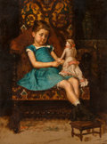 Fine Art - Painting, American:Antique  (Pre 1900), American School (19th Century). Portrait of Girl and herDoll. Oil on canvas. 21-1/2 x 15-3/4 inches (54.6 x 40.0 cm)....