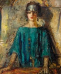 Fine Art - Painting, American:Modern  (1900 1949)  , Mary Kremelberg (American, 1875-1946). Portrait of aFlapper. Oil on canvas. 39-3/4 x 32 inches (101.0 x 81.3 cm).Signe...