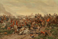 Fine Art - Work on Paper:Print, A Large Framed Print Depicting the Battle of Waterloo. 26-1/4inches high x 38-1/2 inches wide (66.7 x 97.8 cm) (sight). 41-...