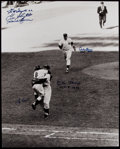 Autographs:Photos, Yogi Berra and Don Larsen Multi Signed Oversized Photograph WithCarey, McDougald, Slaughter & Bauer. ...