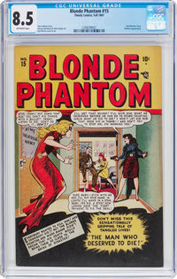Blonde Phantom #15 (Timely, 1947) CGC VF+ 8.5 Off-white pages