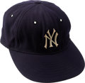 Baseball Collectibles:Uniforms, 1961 Mickey Mantle World Series Game Worn New York Yankees Cap, MEARS Authentic....