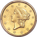 Gold Dollars, 1849-C G$1 Closed Wreath -- Cleaning -- PCGS Genuine. Unc Details. Variety 1....