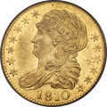 Early Half Eagles, 1810 $5 Large Date, Large 5, BD-4, R.2, AU53 PCGS....