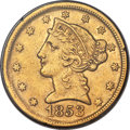Liberty Half Eagles, 1853-D $5 XF40 PCGS. Gold CAC. Variety 34-Y....