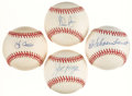 Autographs:Baseballs, Baseball Hall of Famers Single Signed Baseballs Lot of 4 - IncludesRyan, Morgan, Schoendienst, & Berra....