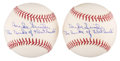 "Autographs:Baseballs, Duke Snider Single Signed Baseballs Lot of 2 - ""The Duke ofFlatbush"" Inscription...."
