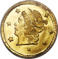 California Fractional Gold , 1866 25C Liberty Round 25 Cents, BG-804, R.4, MS67 PCGS....