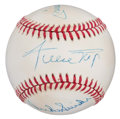 Autographs:Baseballs, Mickey Mantle, Willie Mays and Duke Snider Multi SignedBaseball....