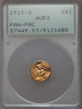 Commemorative Gold, 1915-S G$1 Panama-Pacific Gold Dollar AU53 PCGS. PCGS Population:(16/5956). NGC Census: (10/3679). Mintage 15,000. ...