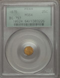 California Fractional Gold , 1875 25C Indian Octagonal 25 Cents, BG-797, Low R.4, MS64 PCGS.PCGS Population: (36/23). NGC Census: (3/2). ...