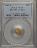 California Fractional Gold , 1880/76 25C Indian Round 25 Cents, BG-885, R.3, MS64 PCGS. PCGSPopulation: (67/20). NGC Census: (14/1). ...