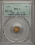 California Fractional Gold , 1875 50C Indian Octagonal 50 Cents, BG-934, R.4, MS64 PCGS. PCGSPopulation: (9/2). NGC Census: (2/0). ...