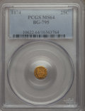 California Fractional Gold , 1874 25C Indian Octagonal 25 Cents, BG-795, R.3, MS64 PCGS. PCGSPopulation: (71/27). NGC Census: (6/8). ...