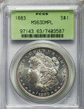 Morgan Dollars: , 1883 $1 MS63 Deep Mirror Prooflike PCGS. PCGS Population: (258/389). NGC Census: (107/179). CDN: $275 Whsle. Bid for proble...