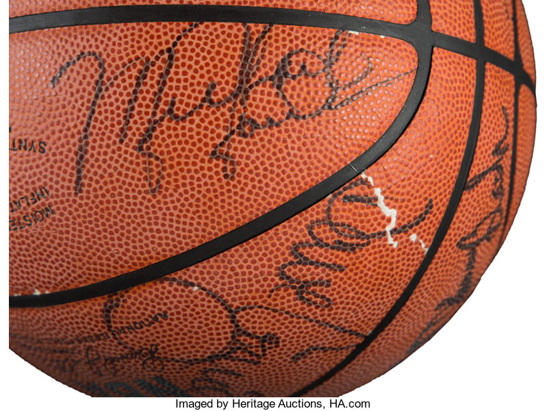 706694893401d9 1988-89 Chicago Bulls Team Signed Basketball. ... Basketball