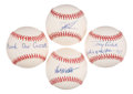 Autographs:Baseballs, Baseball Greats Single Signed Baseballs Lot of 4 - Includes Gooden,Wilhelm, Crosetti, & Kubek. ...