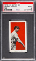 """Baseball Cards:Singles (Pre-1930), 1910 E98 """"Set of 30"""" George Mullin (Red Background) PSA Mint 9 - Pop One, None Higher...."""
