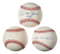 Autographs:Baseballs, Baseball Legends Single Signed Baseball Trio (3) - Includes Mays,Rose, & Sheffield. ...