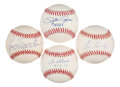 Autographs:Baseballs, Baseball Greats Single Signed Quartet (4) - Includes Rose, Tiant,Gonzalez, & Black. ...