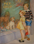 Fine Art - Painting, American, A. C. Compton (American, 20th Century). Pet Shop. Oil oncanvas. 26 x 20-1/2 inches (66.0 x 52.1 cm). Signed lower left:...