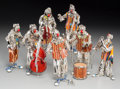 Decorative Arts, Continental:Other , Seven Vittorio Angini Italian Enameled Sterling Silver ClownMusician Figures, 20th century. Marks: (star-1873-AR), 925, Z...(Total: 7 Items)