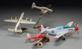 Ceramics & Porcelain, Three Models of Airplanes with Ceramic Airplane Flask, 20th century. 5-1/8 h x 15 w x 13-1/2 d inches (13.0 x 38.1 x 34.3 cm... (Total: 4 Items)