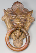 Decorative Arts, Continental, A Large Bronze Lion Door Knocker. 11-1/2 inches high x 7-1/2 incheswide (29.2 x 19.1 cm). Property from the Estate of Cha...