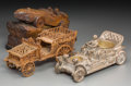 Decorative Arts, Continental:Other , Three Silvered Metal and Carved Wood Car Models. Incised tolargest: DRAH. 7-3/8 h x 11-3/4 w x 5-5/8 d inches (18.7 x2... (Total: 3 Items)