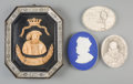 Ceramics & Porcelain, A Wedgwood Porcelain Plaque of Benjamin Franklin, Ebonized Wood and Bone Portrait Plaque of Henry VIII, and Two Plaster Medal ... (Total: 4 Items)