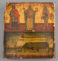 A Greek Oil on Wood Icon Depicting St. Basil, St. Gregory, and St. Ioan Zlatoust 6-7/8 inches high x 6-3/8 inches