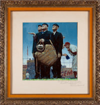"1948 Original Study for ""Tough Call"" by Norman Rockwell -- Gifted to Legendary Umpire ""Beans"" Reardo..."